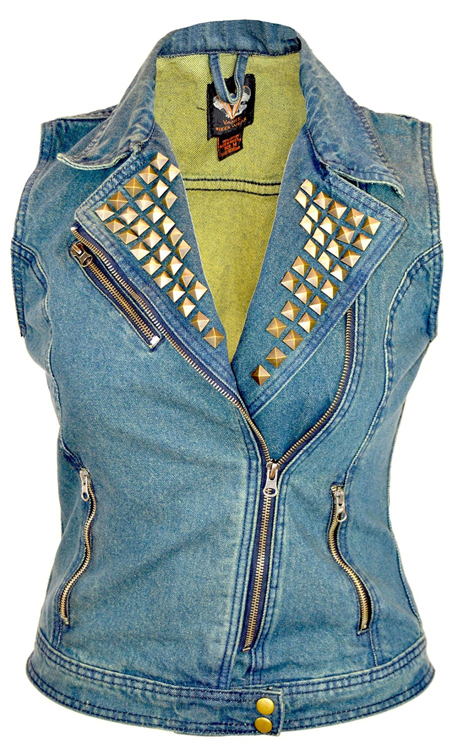 Vance Leather Ladies Classic Motorcycle Denim Vest with Studded Collar