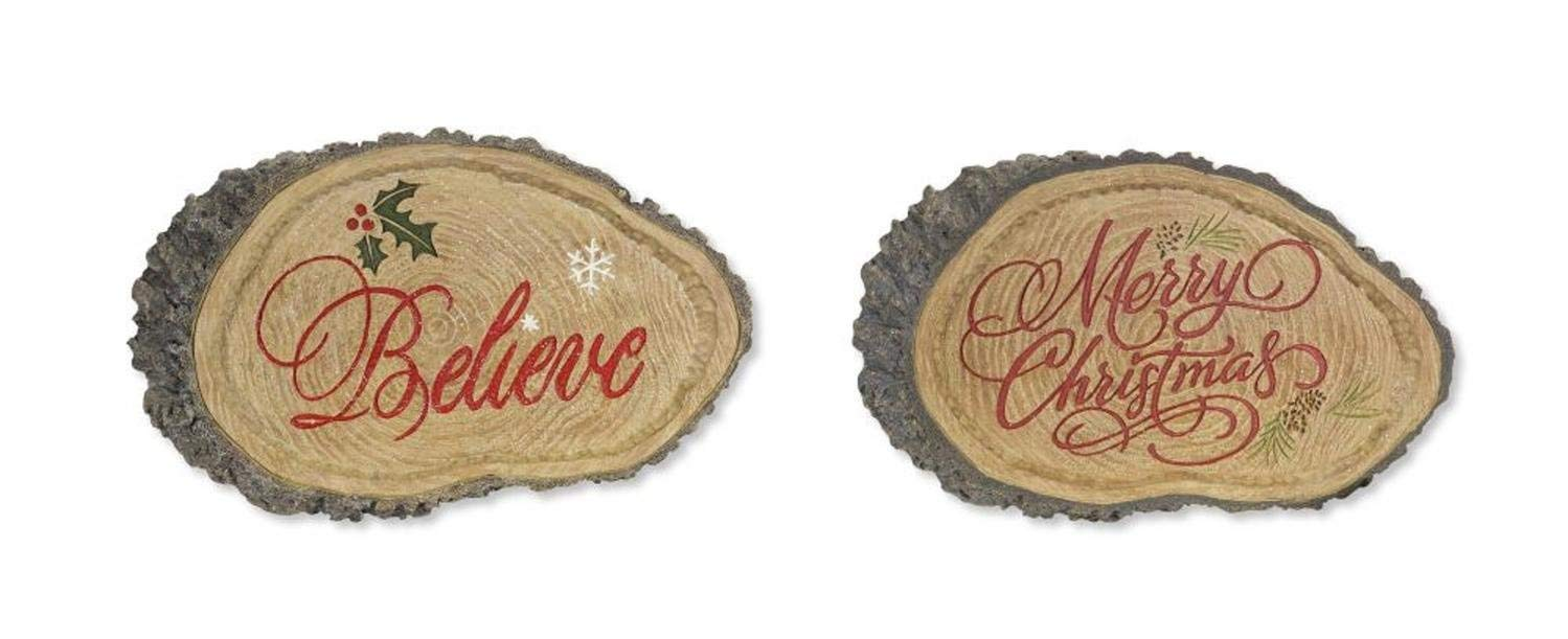 """Diva At Home Set of 4 Brown and Red Merry Christmas/Believe Quoted Yard Art Signs 12.5"""""""