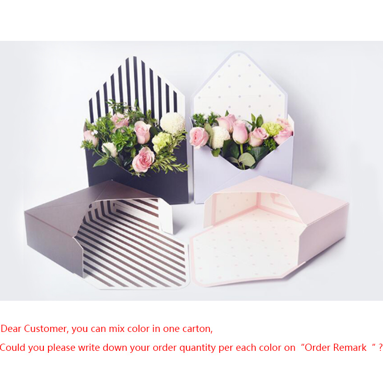 New Arrival Envelope Shape Florist Cardboard Box Valentine Flower Packaging Rigid Box