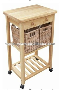Custom Wooden Kitchen Service Trolley Cart with 3 Tier 2 Drawer 4 Caster 2 Basket for Home Hotel Restaurant Cooking Table Dining