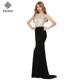 Latest Jersey Fabric 100% Handwork Sexy Black Color Long Crystal Maxi Dress Prom Dresses