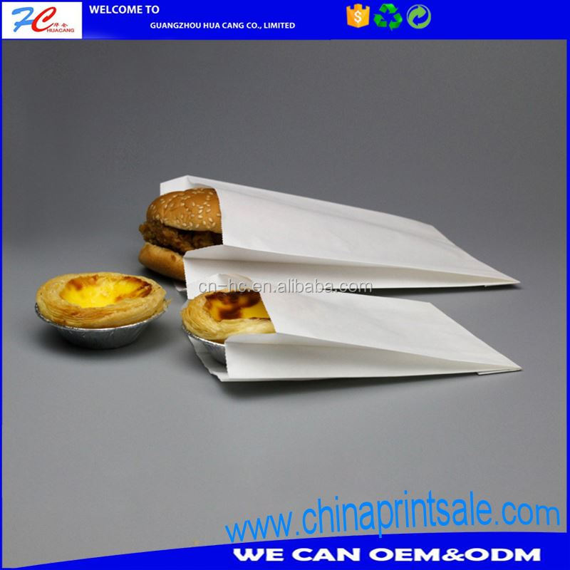 pe coated paper bag for fast food paper packaging water proof grease proof paper bag