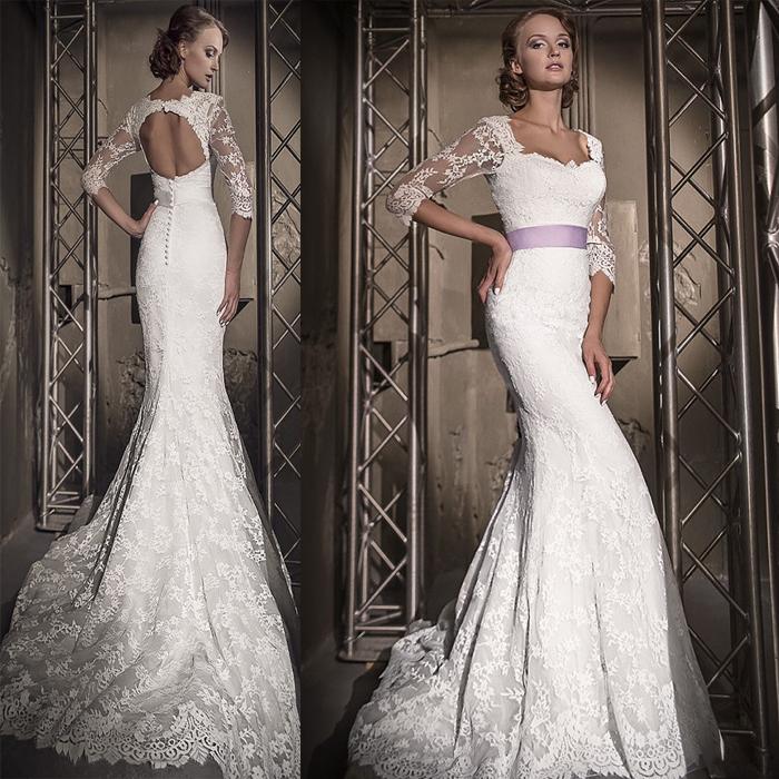 Vintage Three Quarter Length Wedding Dresses: Spring-Sexy-Backless-Wedding-Dress-2015-Three-Quarter-Cap