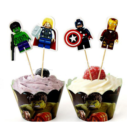 Avengers ice cream cupcake decoration toppers muffin cups