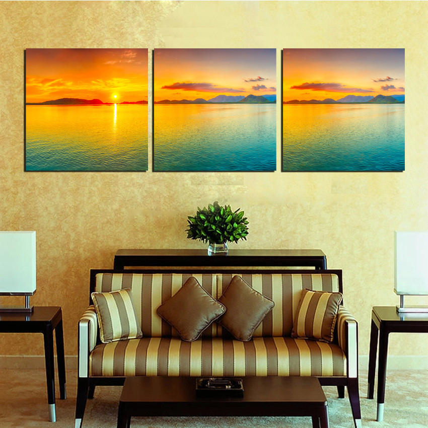 3 Piece Free Shipping Wall Art Picture Modern Sunrise Beach Seaview Oil Painting Home Decoration Paint on Canvas Prints