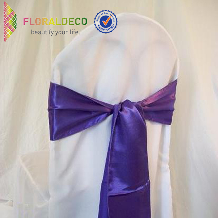 purple wedding party decor satin chair sash cover