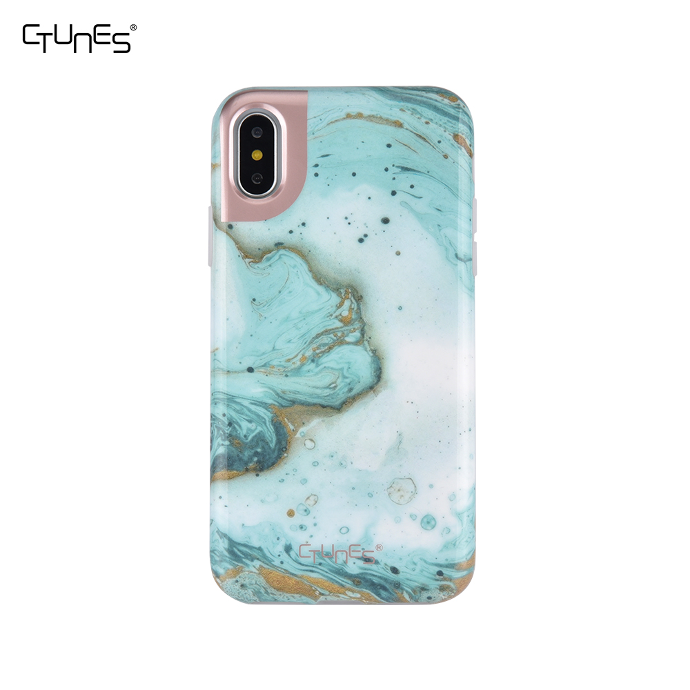 IMD Green Marble Foil Gold Printing Slim Shock-Proof Silicone Soft Rubber TPU Protective Case Cover For Apple iPhone X