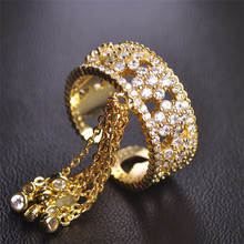 Fashion New Designs Copper Finger Accessories Long Tassel Crystal Gold Metal Ring