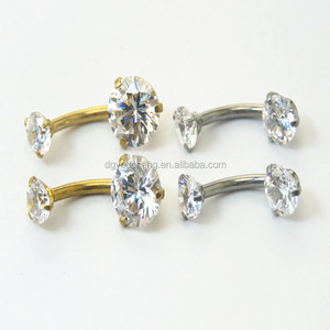 Double gems body piercing jewelry nickel free navel belly ring