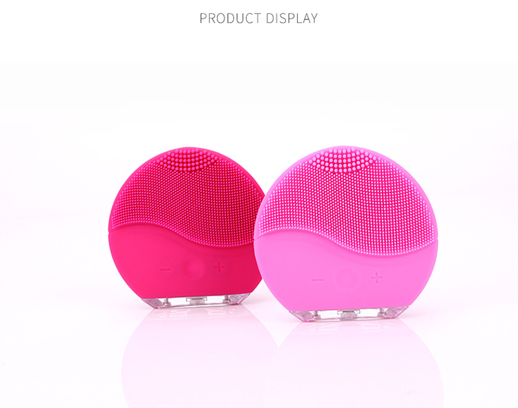 Face Massage Cleansing Machine Silicone Facial Brush Electric Blackhead Cleanser, Pink