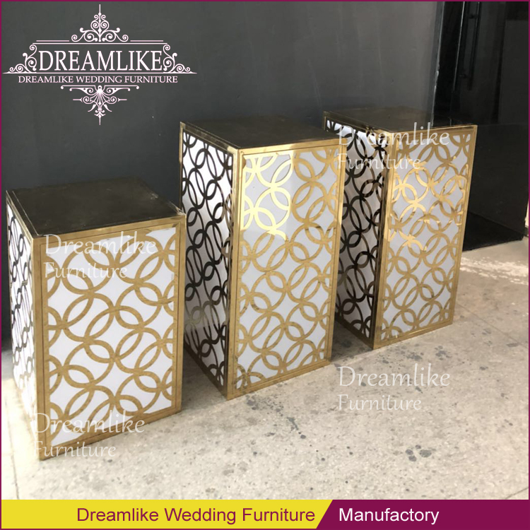 Wedding party square gold metal frame stainless steel flower stand
