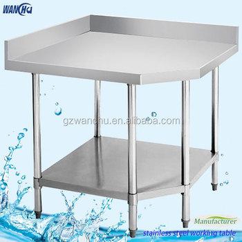 Stainless Steel Commercial Kitchen Corner Work Bench With 2 Tiers/Kitchen Corner  Work Table With