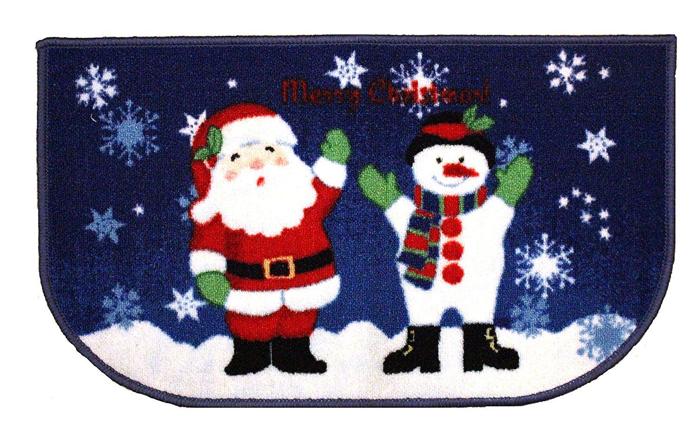 "Christmas Kitchen Rug, Santa, Reindeer, Snowman Printed, 18""x30"", Rectangular, D-Shape (Santa/Snowman, 18""x30"" D-Shape)"