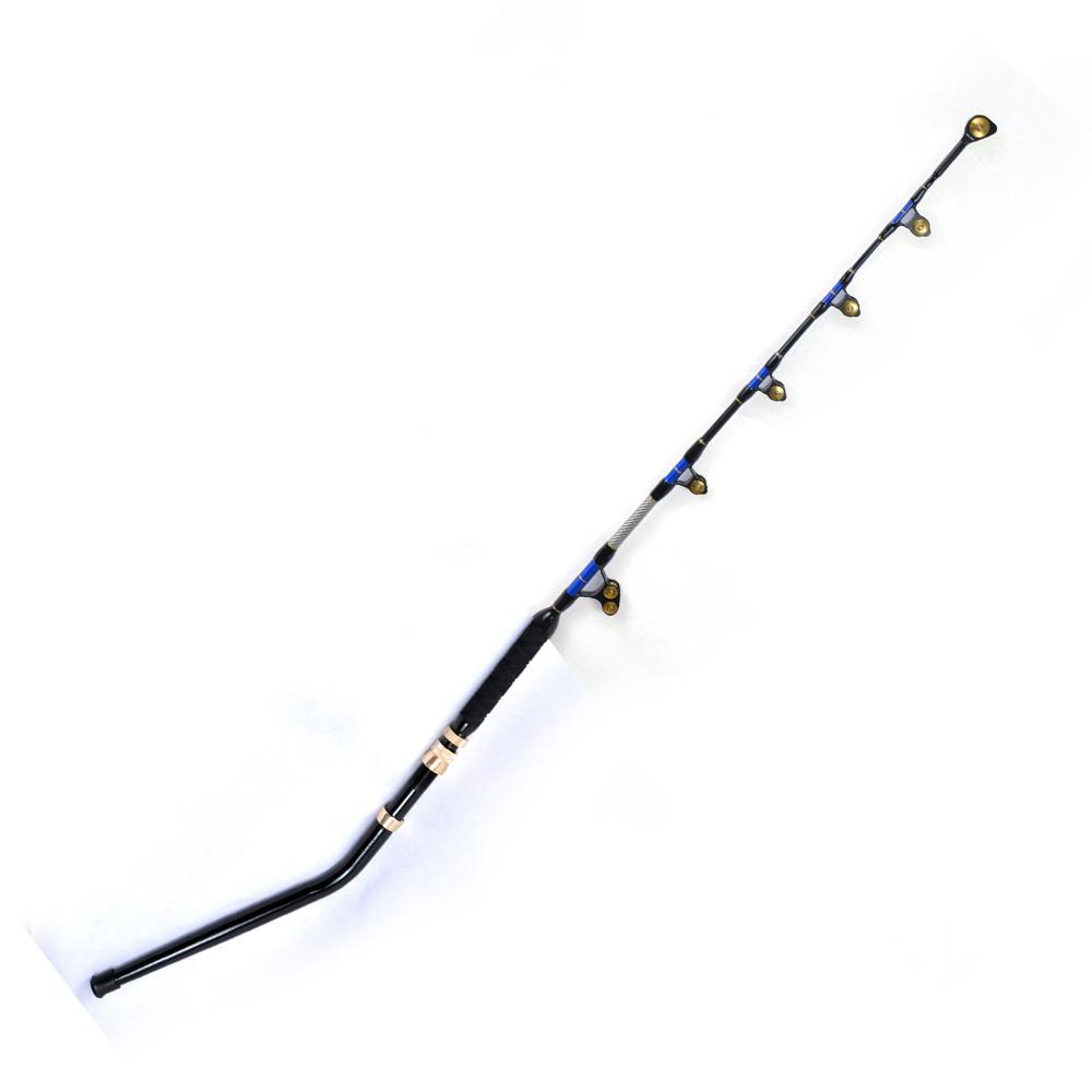 6' eliminator alu bent butt PAC BAY rollier guide 130LBS boat rods boat fishing trolling rod sea fishing rod, Blue