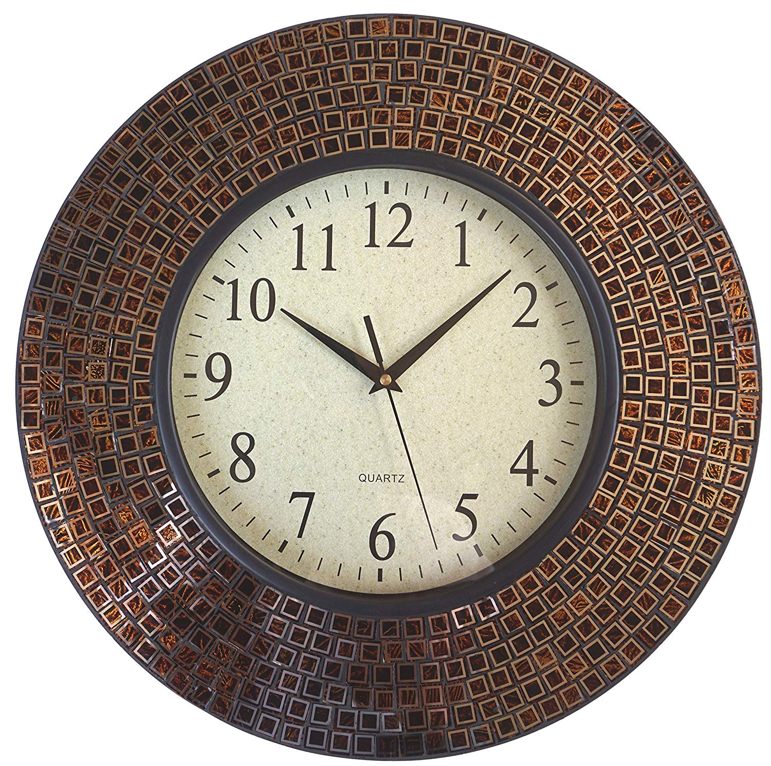 """LuLu Decor, 16"""" Amber Checkered Mosaic Wall Clock with 9.5"""" Glass Dial, Silent Movement for Living Room & Office Space(LP80)"""