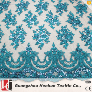 HC-360-1 HeChun blue sequined lace fabric for wholesale