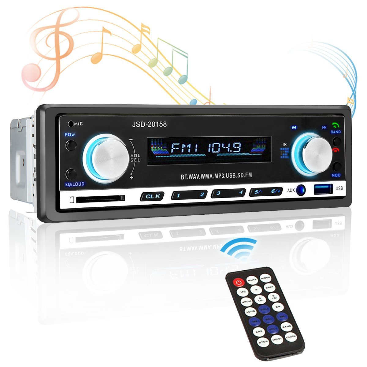 Car stereo receiver,Car radio receiver,Single Din,Bluetooth Car stereo,TVIRD Universal Din Car Radio Receiver MP3 Player/USB/SD Card/AUX/FM Radio with Wireless Remote Control (Black 1)