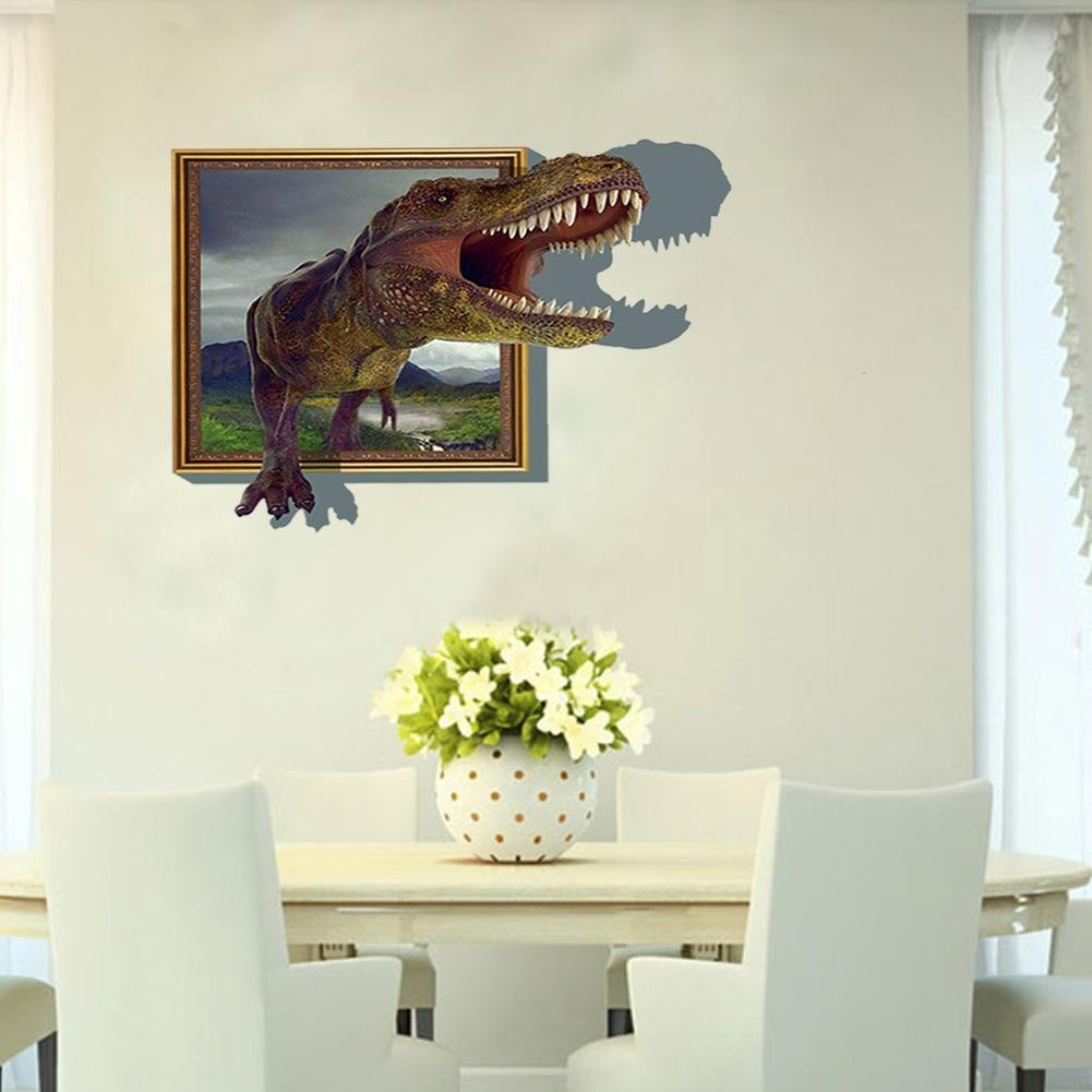 3D Stereoscopic Dinosaur wall stickers Dinosaur 3D Window Wall Paper View Removable Wall Sticker Art Vinyl Decal Decor Mural New