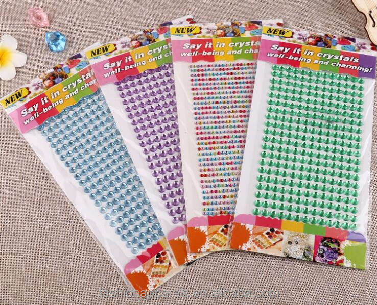 Back Glue Acrylic DIY Self Adhesive Pearls and Rhinestone Stickers