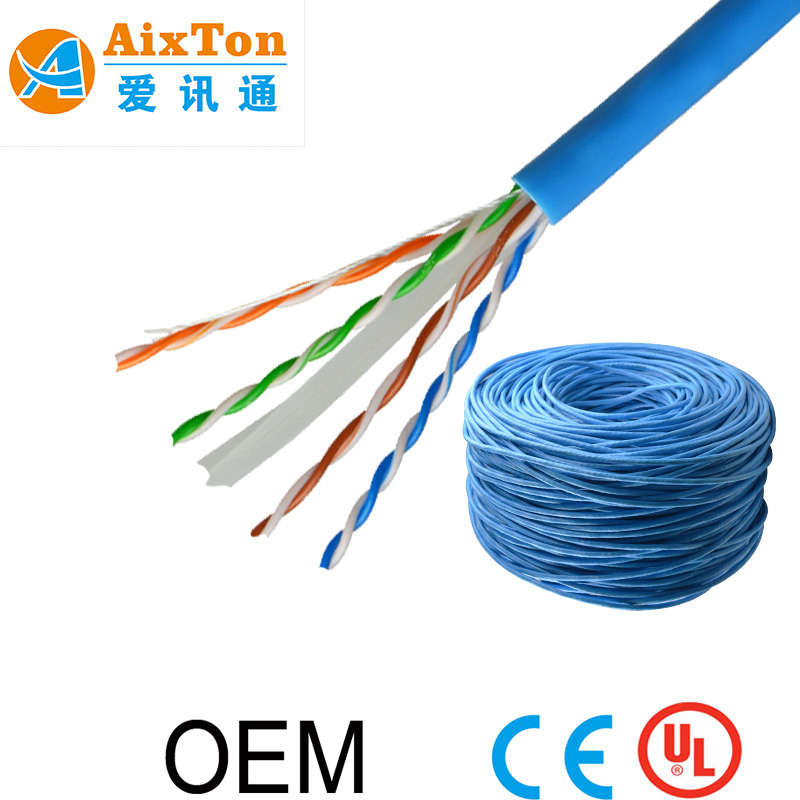 Fast ethernet speeds 305m 4 pairs cat6 utp cable bare copper for cctv and camera