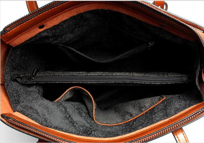 Latest new Oil wax cowhide leather women handbag tote bag
