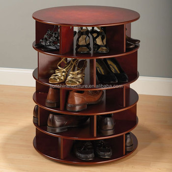 Home Furniture New Design Wooden Round Shoe Rack Cabinet