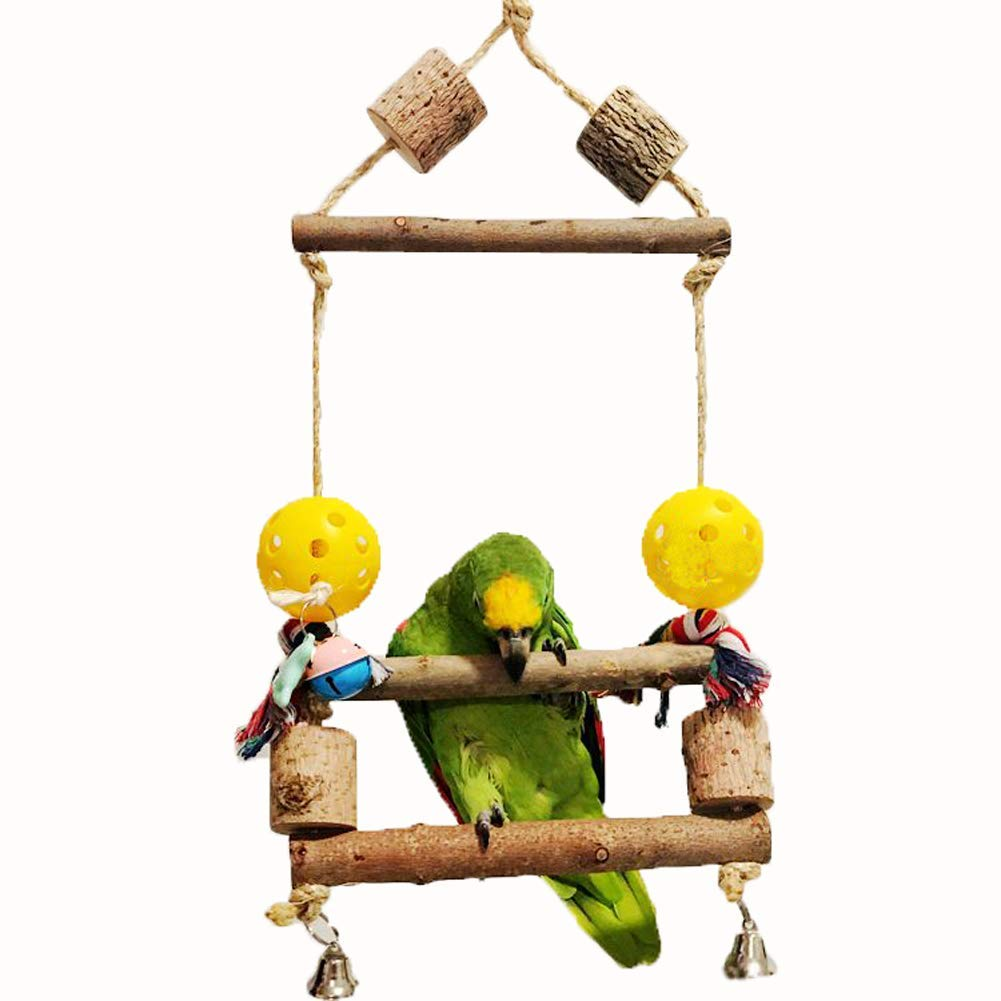 Parrot Chewing Toys, Birds Pet Training Climbing Exercise Toy, Natural Wood Bite Stand Bar, Wiggles Bell Flying Trapeze, for Medium, Large Macaw, Cockatoo, Amazon parrot, Lories, Cockatiel, Parakeet