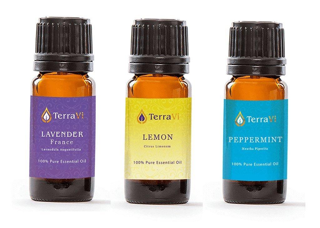 Aromë ESSENTIAL OIL KIT: LAVENDER, LEMON & PEPPERMINT (3-PACK - 10ml), 100% Pure Essential Oil, Undiluted, Therapeutic Grade Essential Oil
