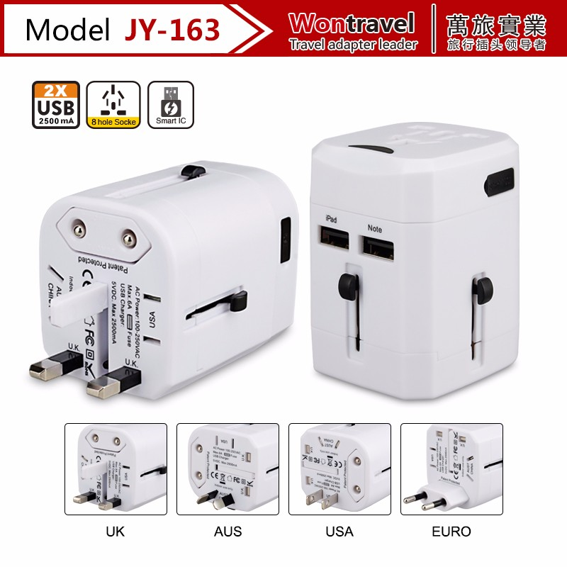 New design JY-163 universal travel adapter, electrical socket <strong>plug</strong> with USB charger adaptor