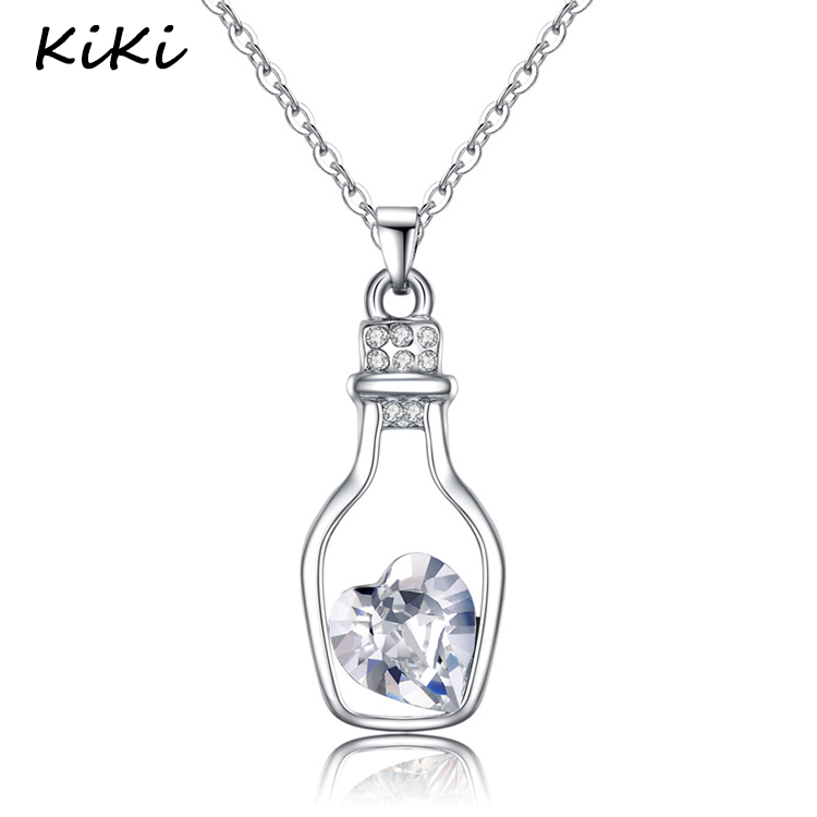 >>>2017 High Quality Lowest Price Women Necklace Fashion Popular Love Drift Bottles Blue Heart Crystal Pendant Necklace