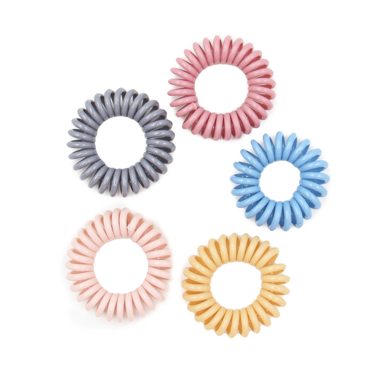 Factory Direct Sale Plastic Translucent Wristband Telephone Wire Hair Band Tie Wholesale Telephone Hair Band