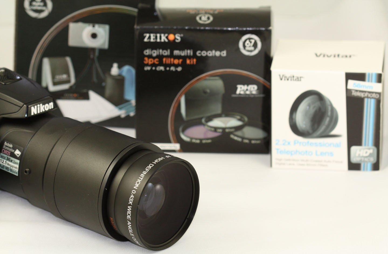 Tube Adapter Bundle for Nikon Coolpix P530 /& L830 Camera Tele Lens Wide Lens