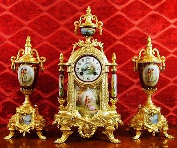Antique french porcelain mantel clocks