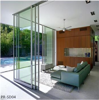 Aluminum Frameless Glass Sliding Folding Terrace Door