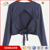 High quality custom women casual back hollow out bandage long sleeve crop top