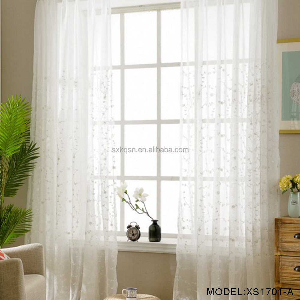 Single layer long french window decoration white sheer curtains