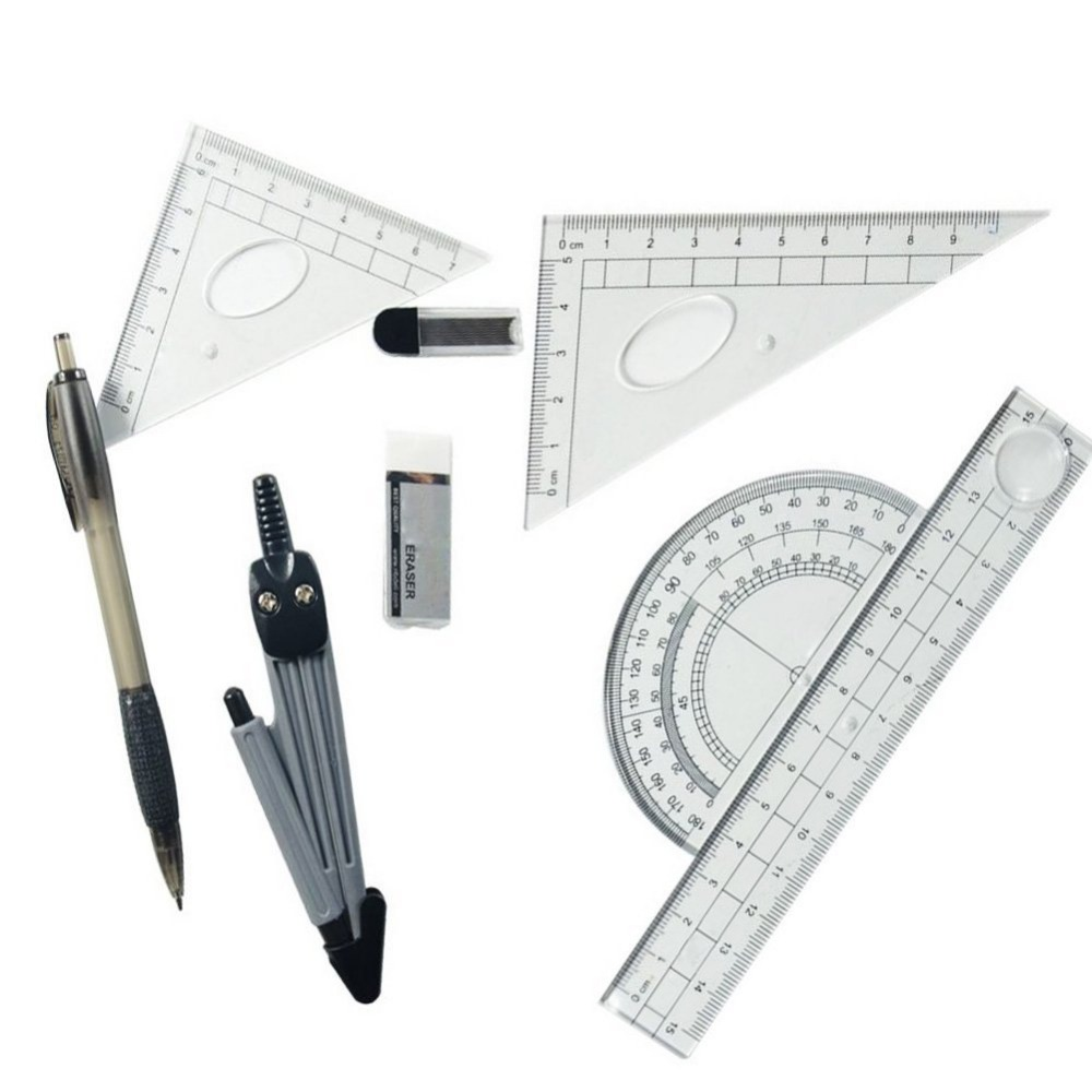 Math Geometry Kit Set 8 Pieces - Shatterproof Box,Rulers,Protractor,Compass and Pencil for Student Supplies