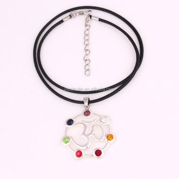 Latest Style Cz Open Aum Ohm Om Sanskrit Symbol Round Black Pu