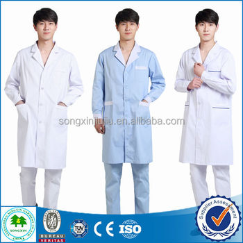 Inexpensive White Coat Doctor Scrub Jacket, Medical Doctor Gown With Logo Embroidery