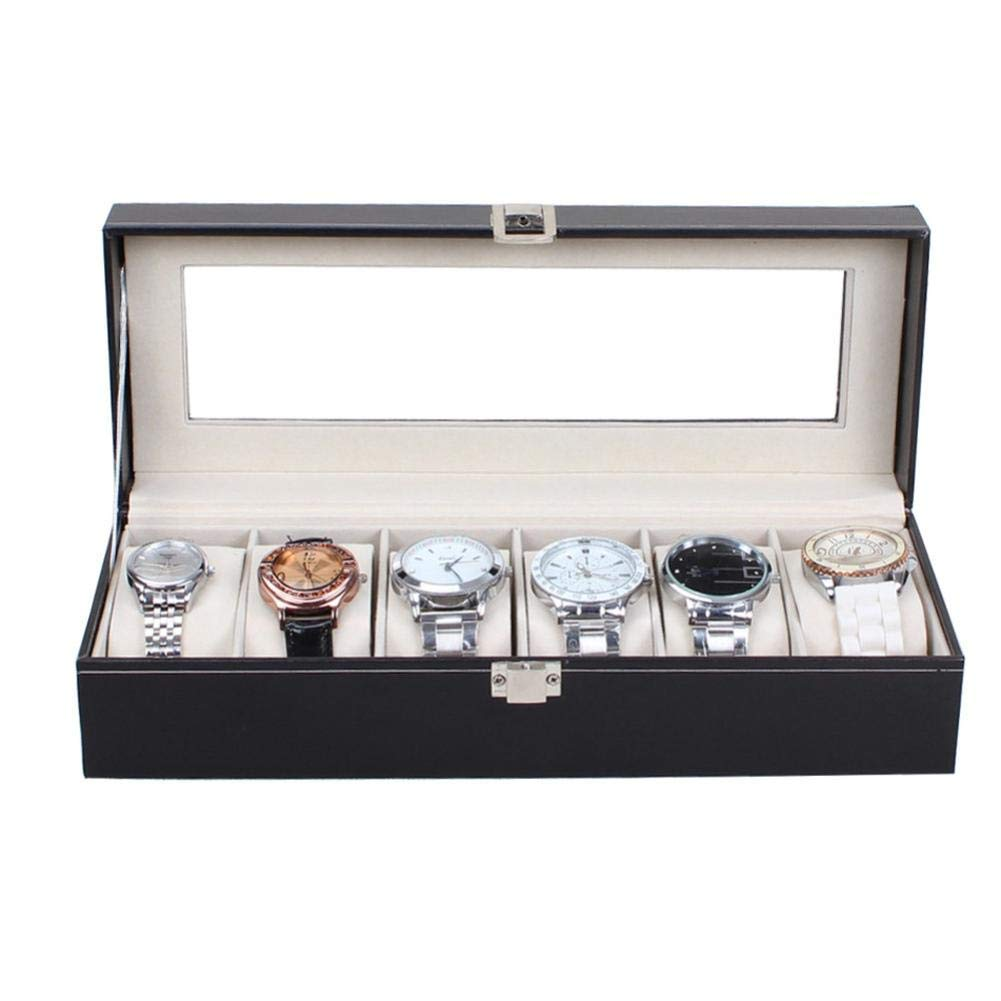 OCASHI 6 Slots Black Leather Watch Box Storage Organizer for Display and Collect Watches Or Jewelry Wrist Bracelets (Black, 6 Slot)