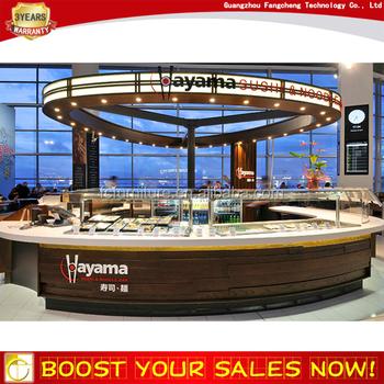 High end commerical indoor mall wood fast food kiosk for Indoor food kiosk design