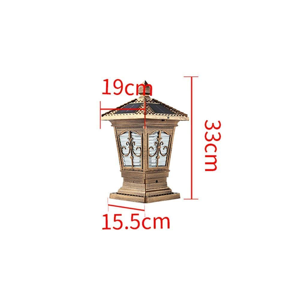 Hines European Solar Energy Column Light Outdoor Table Lamp Antique Victoria Glass Lantern Waterproof Door Post Light Aluminum LED Garden Lawn Light