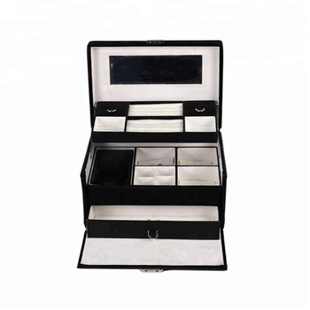 Chinese supplier luxury fancy large stand up fine vintage tabletop black velvet/leather girls/women's mirror jewelry box