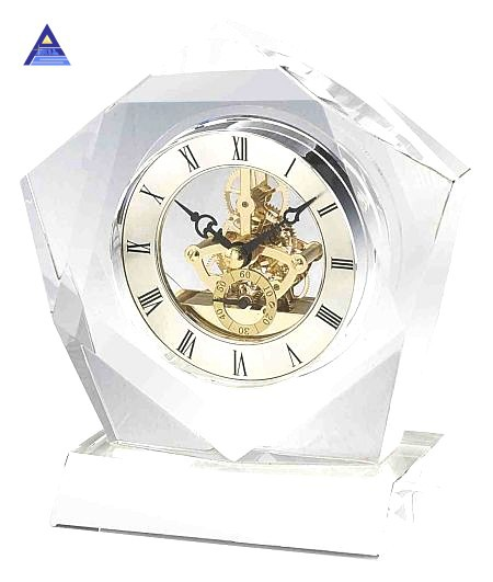2015 Newest crystal glass table clock- -NO.1 Crystal Trophy Factory