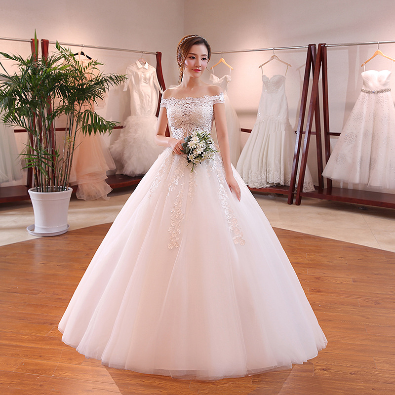 A Line Boat Neck Off Shoulder Appliqued Wedding Dresses Boutique Bridal Gowns фото