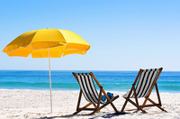 Beach Folding Deck Chair and umbrella