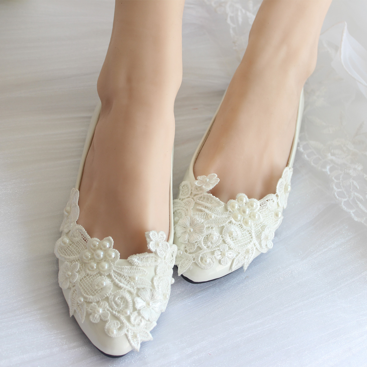 Lace Wedding Shoes Low Heel: Pearl Lace Wedding Shoes White Handmade Bridal/ Bridesmaid
