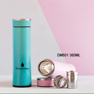 DM601 360ML/12OZ Small Insulated Custom Embossed Logo Water Double Wall Stainless Steel Bottle Glass inner tea thermos