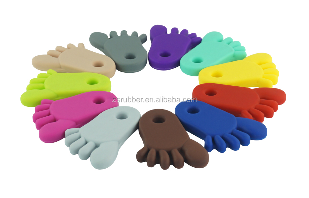 bpa free foot silicone teether baby teething flamingo pendant toys
