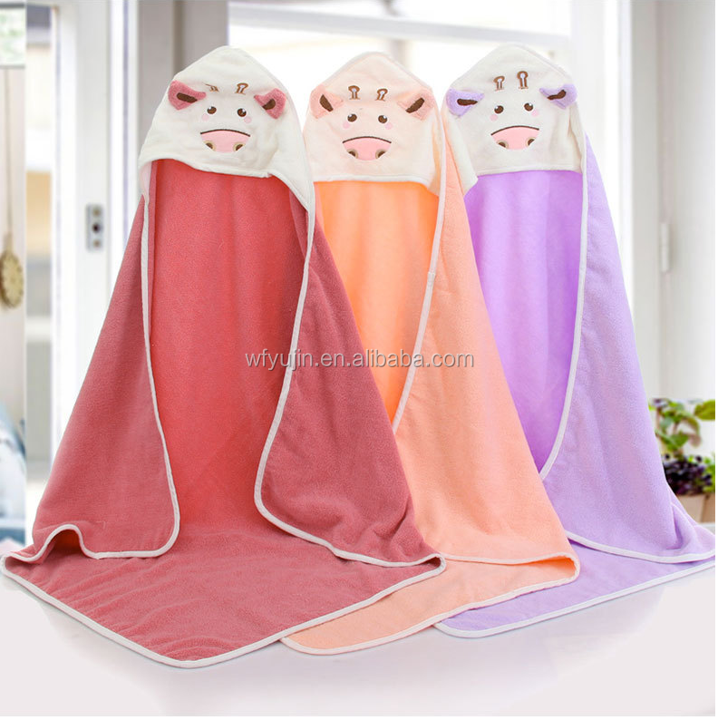 100% cotton  baby towel with hooded and embroidery  baby hooded towel